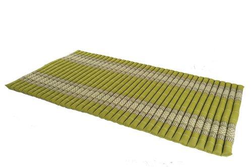 rollbare Thaimatte Matratze 100x200 cm Thaikissen Matte in bambusgrün mit Füllung aus Kapok