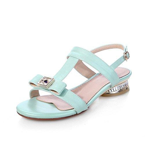 AllhqFashion Women's Solid PU Low heels Open Toe Buckle Sandals Blue TlfuSqynwr