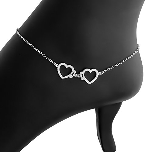 Hand Crafted Heart Shaped Love Hand Cuff Charm Pendant Anklet (sterling-silver)