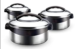 Milton Regent Hot Pot 3 piece Insulated Casserole Gift Set Keep Warm/Cold Upto 4-6 Hours, Full Stainless Steel