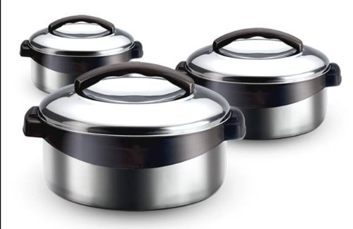 Milton Regent Hot Pot 3 piece Insulated Casserole Gift Set Keep Warm/Cold Upto 4-6 Hours, Full Stainless Steel - Regent Gift