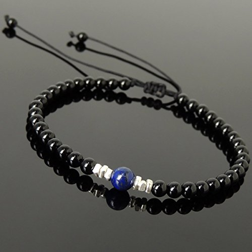 Men and Women Adjustable Braided Drawstring Bracelet Handmade with 4mm Black Onyx, 6mm Natural Lapis Lazuli & Genuine 925 Sterling Silver Nugget Beads from Thailand