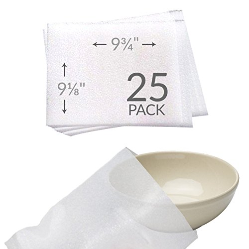 UBOXES 9-1/8' x 9-3/4' Foam Wrap Bowl Pouches Protect Dishes and Fragile Items while Moving (25 Pack)