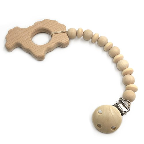 Amyster Wood Teether Sheep Clip Soothie Clip Beads Teether Baby Teething Toy Pacifier Clip Baby Holder Natural Infant Chew Teether (Sheep) ()