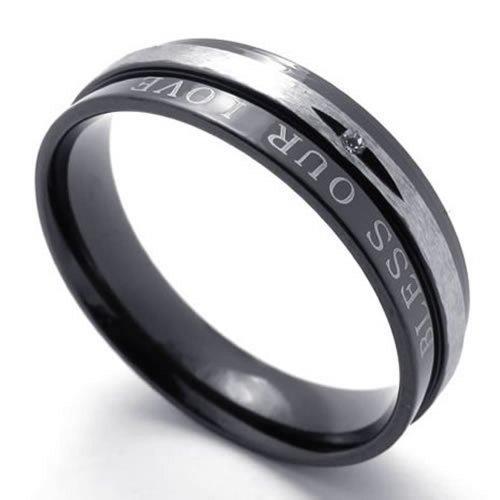 """KONOV Bijoux Bague Homme - """"BLESS OUR LOVE"""" - Fiançailles Mariage Alliance - Amour - Acier Inoxydable - Anneaux - Fantaisie - pour Homme et Femme - Couleur Noir Argent"""