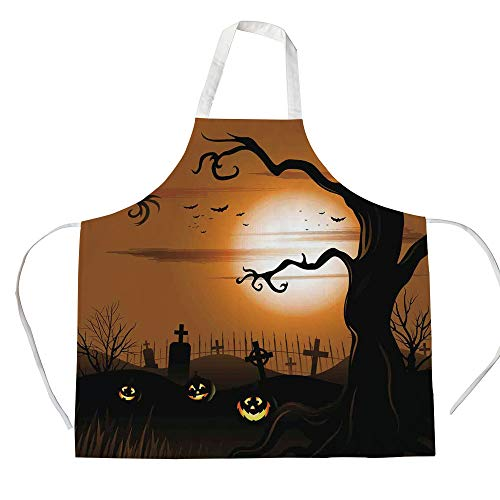 Halloween Decorations 3D Printed Cotton Linen Apron,Leafless Creepy Tree with Twiggy Branches at Night in Cemetery Graphic,for Cooking Baking Gardening,Brown Tan]()