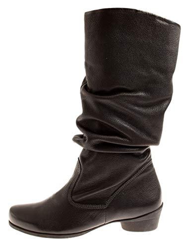 Ladies Think Shoes Boots 85164 For Winter Flannel Warm 5 Black Lina Leather 7ZwgR7zqT