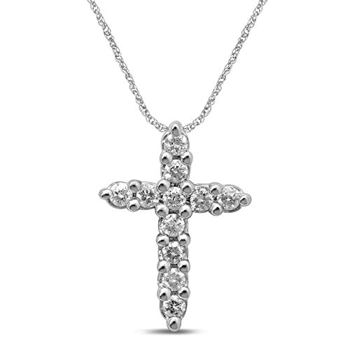 Diamond Jewel 10K White Gold Diamond (.25 cttw) Cross - Unisex Gold Cross Diamond