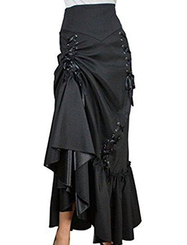Kimikal Gothic Steampunk Long Sateen Corset Skirt (X-Large, Black)