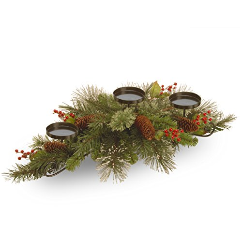 National Tree 30 Inch Wintry Pine Collection Centerpiece with 3 Candle Holders, Cones, Red Berries and Snowflakes (WP3-832-30C-B)