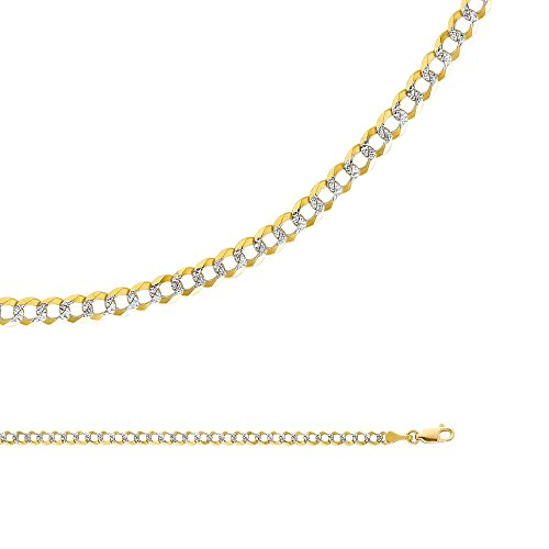 Open Curb Chain - Solid 14k Yellow White Gold Necklace Curb Chain Cuban Pave Open Link Two Tone Light 3.6 mm 18 inch