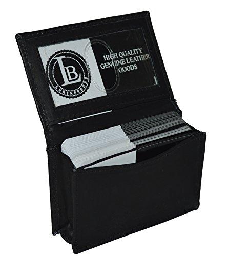 New 100% Leather Bi-fold Credit Card Holder Black #70 (Black)