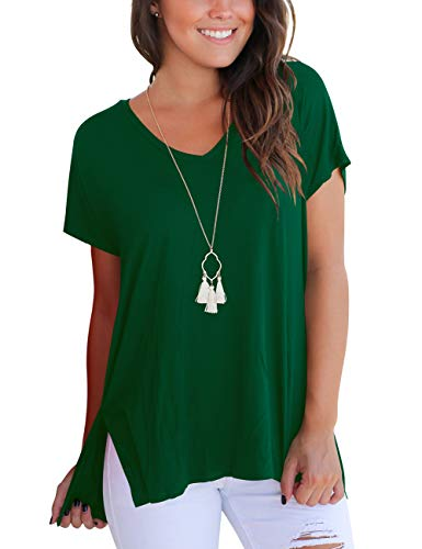 (Aokosor Short Sleeve T Shirt Women Cotton Tee Shirts Solid Basic Tops High Low Dark Green M )