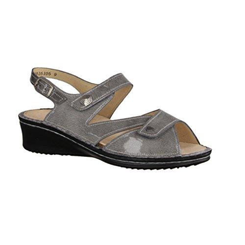 FINNCOMFORT Santorin - Sandalias de vestir de charol para mujer Gris gris Gris - gris