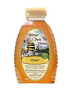 Ginger Honey (Pure Natural Raw Honey with Essence of Organic Ginger) 16oz