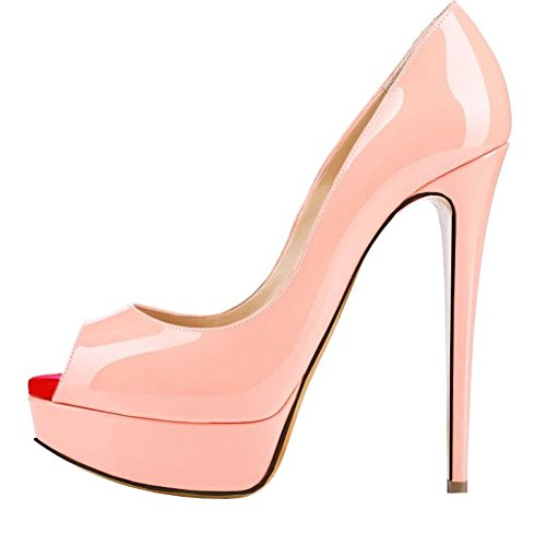 yBeauty Women's High Heel Platform Pumps Peep Toe Slip On Stiletto Extreme High Fashion Pumps Dress Patent Leather Pink US9