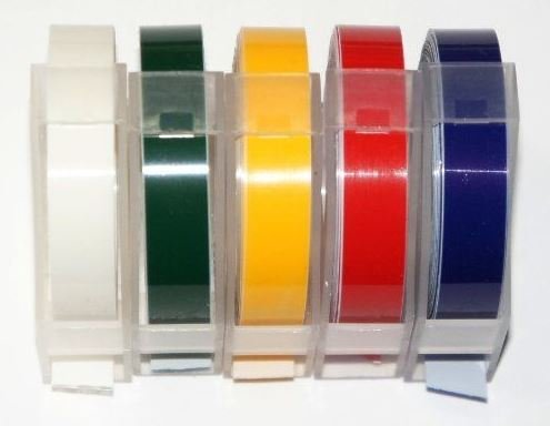 Dymo Compatible STANDARD COLOUR PACK 9mm x 3m Embossing Label Maker Tapes Motex
