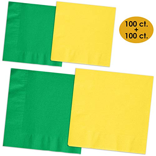 200 Napkins - Emerald Green & Lemon Yellow - 100 Beverage Napkins + 100 Luncheon Napkins, 2-Ply, 50 Per Color Per Type