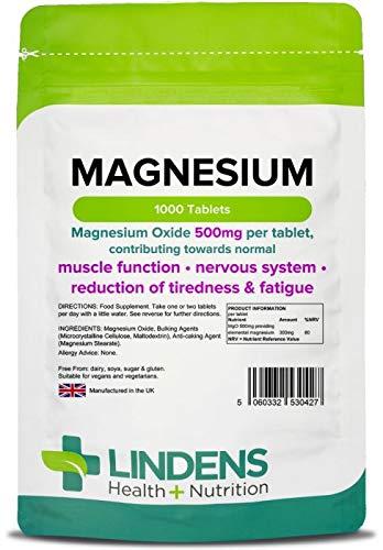 Lindens Magnesio 500 mg en comprimidos | 100 Paquete | Contribuye al metabolismo de producción de