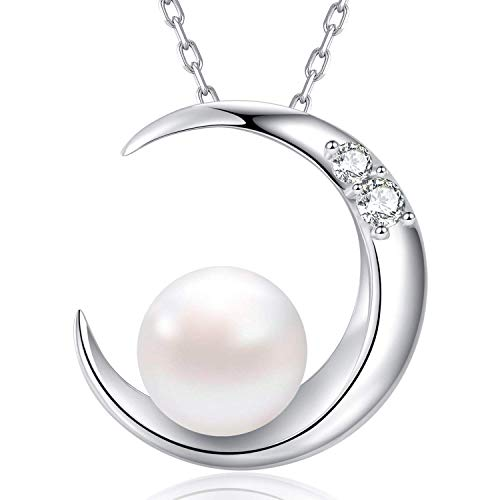 MEGA CREATIVE JEWELRY Moon Pearl White Freshwater 925 Sterling Silver Pendant Necklace Crystals from Swarovski