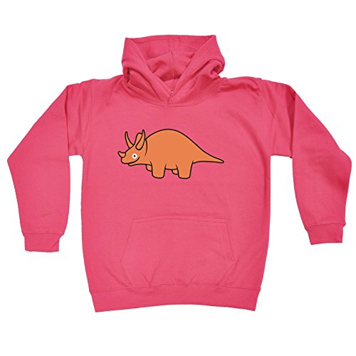 Price comparison product image 123t Slogans Kids Girl's ANI-MATES DINOSAUR TRICERATOPS (L-Age-9-11 - HOT PINK) HOODIE