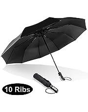 Paraguas Automático de Viaje Compacto y Resistente al Viento, Protección UV Paraguas para lluvia Anti-Viento Tejido de Teflón 210T y con 10 Varillas Reforzadas. Mango Curvado Antideslizante y Cómodo