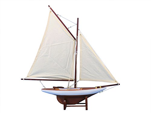 Hampton Nautical  America's Cup Contender Model Yacht Decoration 18'' - Model Ship - Model Sailing Boat - Nautical Theme Toy Figure by Hampton Nautical