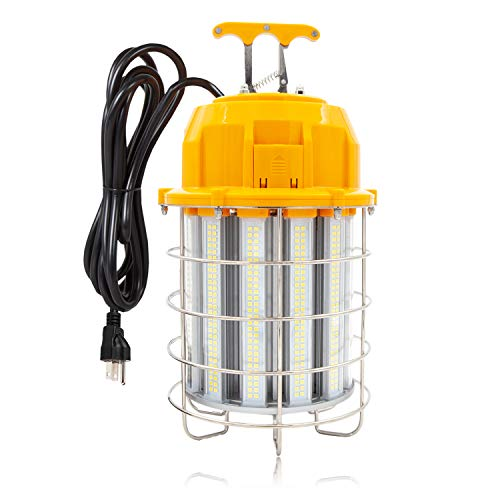 Maxxima High Bay LED Temporary Work Light Fixture, Linkable, 150 Watt 18000 Lumens Daylight 5000K, Stainless Steel Cage Guard, Plug in, Easy Latch Mounting