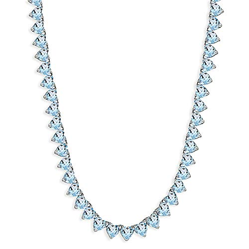 (Sterling Silver Blue Topaz Heart Classic Tennis Necklace, 16 Inches)