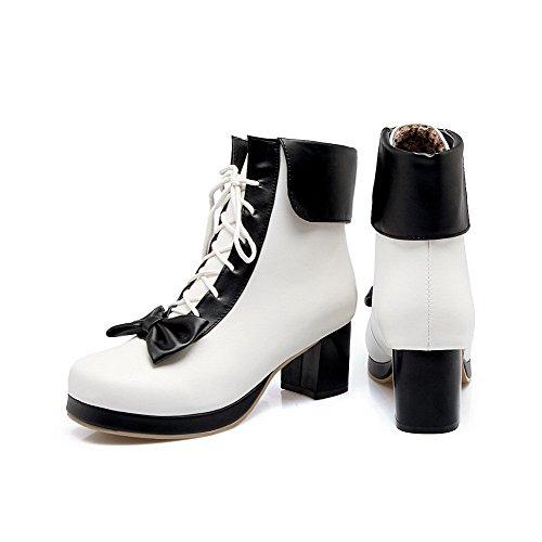 Zehe AgooLar PU Schwarz Rund Schnüren Stiefel Damen Gemischte Mittler Absatz Farbe qS6q8r