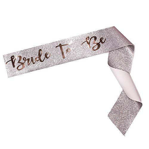 Bride To Be Sparkle Sash - Bachelorette Party, Bridal Shower - Wedding Decoration, Bridal Accessories, Engagement Party, Accessory, Sparkly - Bride to Be Gift (Silver and Rose Gold)