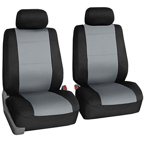 FH GROUP FH-FB083102 Neoprene Waterproof Car Seat Covers, Pair Set Buckets Airbag Ready-Gray