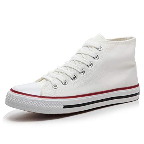 Unisex Scarpe Scarpe Casual Qianliuk Tela High A Lace Up Scarpe Sneakers Top Bianco Mocassini di 7dpxxWt