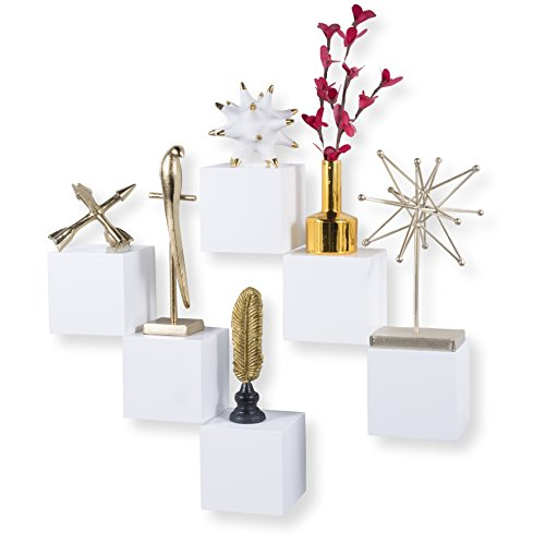 brightmaison Decorative Square Wall Cubes Floating Block Shelves Set of 6 White by brightmaison (Image #8)