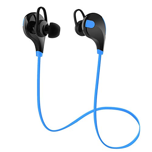 Wireless Headphones Stereo Earbuds Wireless Sport Earphones for Running with Mic (6 Hours Play Time, Bluetooth 4.0, IPX4 Sweatproof, Secure Ear Hooks Design) Black/Blue