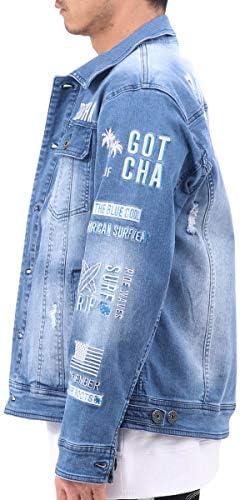 ジャケット サーフ袖 刺繍 ロゴ デニムジャケット 3 201G1600