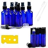 14 Cobalt Blue Essential Oil Bottles , 7 Blue Glass Spray bottles for Essential Oils (2 Ounce) , 7 Essential Oil Blue Glass Stainless Essential Roller Oil Bottles (0.34 Ounce)