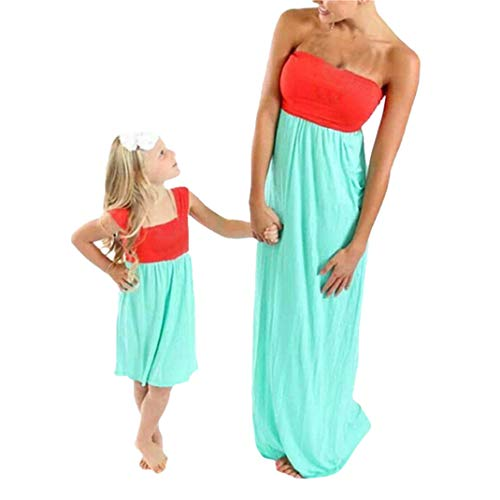 Family Matching Outfits,kaiCran Mommy and Me Off-Shoulder Bohemia Patchwork Maxi Dresses Cotton Comfy Clothes (Mom-XXL, Wine)
