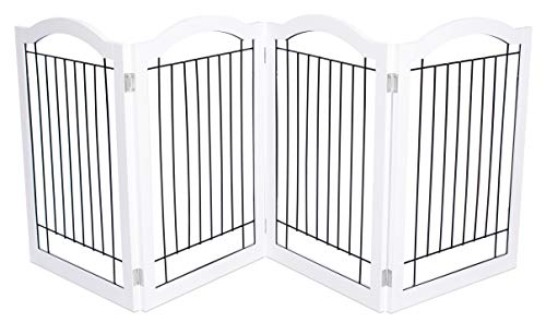 Internet's Best Wire Dog Gate with Arched Top | 4 Panel | 30 Inch Tall Pet Puppy Safety Fence | Fully Assembled | Durable Wooden | Folding Z Shape Indoor Doorway Hall Stairs Free Standing | White For Sale