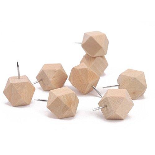 TOOGOO 30Pieces chinchetas geométrico madera pulgar tachuelas de madera decorativos para tableros de corcho mapa fotos...