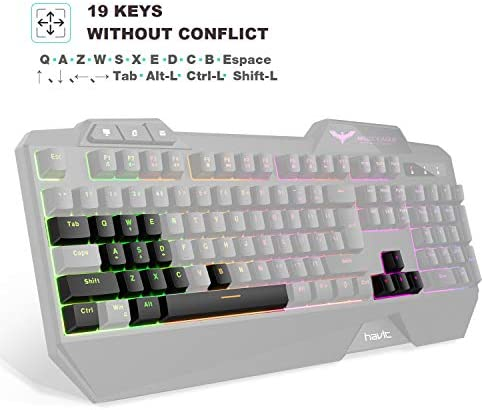 Havit Keyboard Rainbow Backlit Wired Gaming Keyboard Mouse Combo, LED 104 Keys USB Ergonomic Wrist Rest Keyboard, 4800 Dots Per Inch 6 Button RGB Mouse for Windows Gamer Desktop, Computer (Black) 41uHD9dXiwL