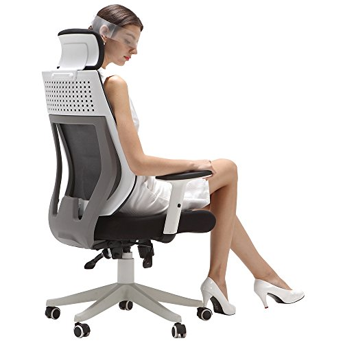 Hbada Ergonomic Office Chair, High Back Computer Chair, White Desk Chair,  Adjustable Mesh