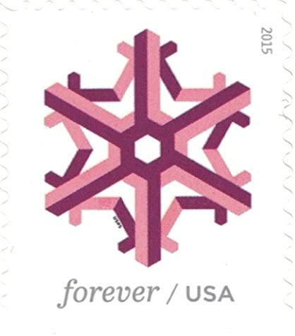 Geometric Snowflakes USPS Forever Stamps 100 Stamps 5 Books of 20