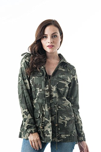 Camouflage Print Drawstring Waist With Hoodie Cotton Utility Jacket (Medium, (Camo Utility Jacket)