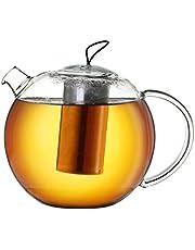 Creano Szklany dzbanek do herbaty Jumbo 1,5 l z filtrem ze stali nierdzewnej, wkładka silikonowa, wielofunkcyjny designerski dzbanek 16,5 x 16,5 x 14,5 cm