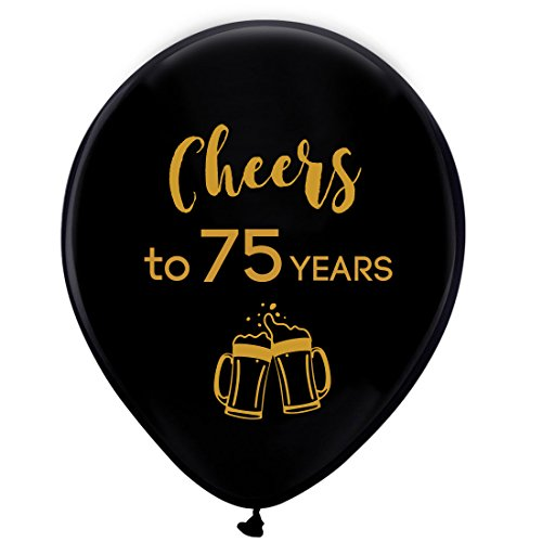 Black cheers to 75 years latex balloons, 12inch (16pcs) 75th birthday decorations party supplies for man and woman -