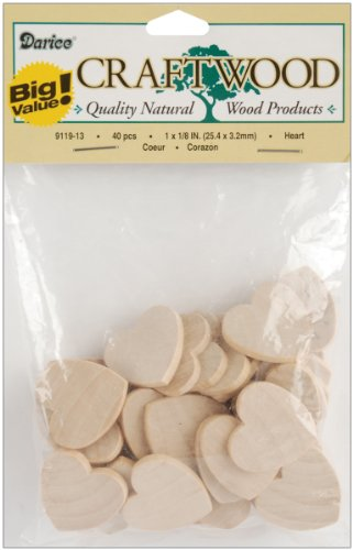 Darice 9119-13 Big Value Unfinished Wood Heart, Natural, 1-Inch
