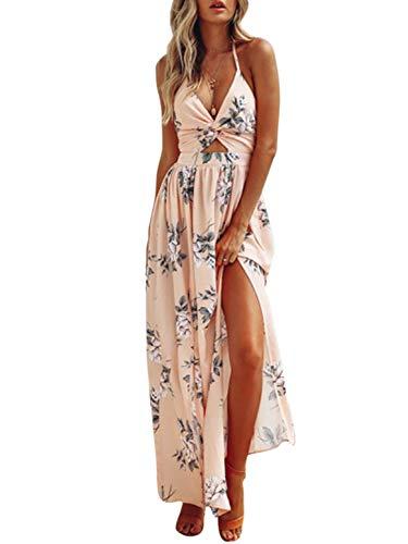 Dress Maxi Knot Front - BerryGo Women's Sexy Halter V Neck Dress Floral Backless Split Beach Dress Pink Print-S