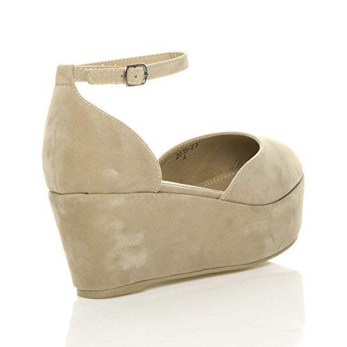 formes Chaussures plates talons Décolleté plates Tailles Daim Neutres et Sandales à formes Sandales plates compensés femme Écru n7X7Hqg