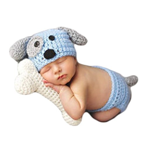 Baby Newborn Photography Props Cute Dog Handmade Crochet Knitted Unisex Baby Cap Outfit (Style one)